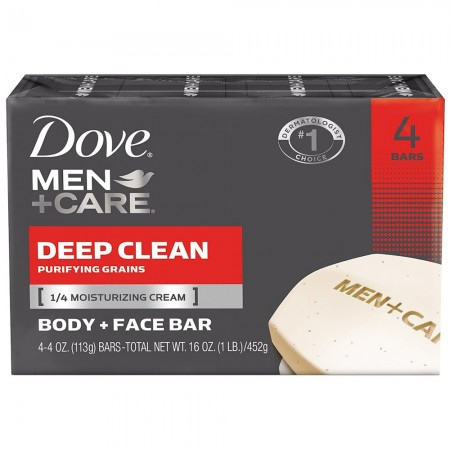 Dove Men + Care Body & Face Bar, Deep Clean 4 oz, 4 ea [011111012189]