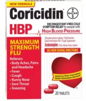 Coricidin HBP Tablets Maximum Strength Flu 20 Tablets [041100574633]