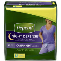 Depend Night Defense Incontinence Overnight Underwear for Women, XL - 12 ea [036000455915]