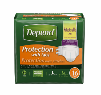 Depend Briefs, Protection with Tabs, Maximum Absorbency, Unisex, Large 16 ea [036000193176]
