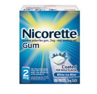 Nicorette 2 mg Nicotine Gum, Coated White Ice Mint 100 ea [307667750003]