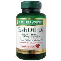 Nature's Bounty Fish Oil + D3 1200 mg Softgels 90 ea [074312194054]