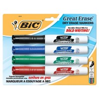 Bic Great Eraser Chisel Tip Dry Erase Marker, Assorted Colors 4 ea [070330323315]