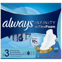 Always Infinity Extra Heavy Pads with Flexi-Wings, Size 3, Unscented 14 ea [037000899099]