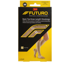 FUTURO Therapeutic Knee Length Stockings Open Toe Firm Medium Beige 1 Pair [051131215863]