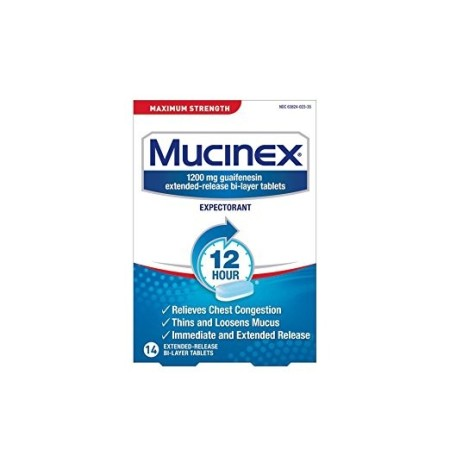 Mucinex 12 Hr Max Strength Chest Congestion Expectorant Tablets, 14ct [363824023144]