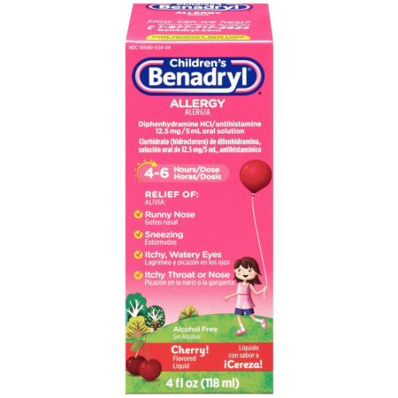 Benadryl Allergy Liquid Cherry 4 oz [350580534045]