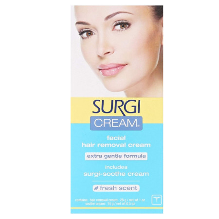 SURGI-CREAM Hair Remover For Face, Extra Gentle Formula 1 oz [074764825650]