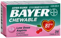 Bayer Chewable Low Dose 'Baby' Aspirin 81 mg Tablets Cherry 36 Tablets [312843132313]