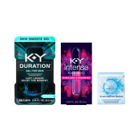 K-Y Extra Lubricated Latex Condoms 12 ea, Duration Gel Male Genital Desensitizer (36 Pumps/.16oz) and Intense Pleasure Gel Lubricant (.34oz) 1 ea [191567338498]