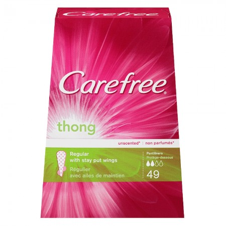 CAREFREE Thong Pantiliners, Regular Unscented 49 ea [380041493000]