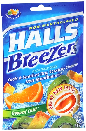 Halls Breezers Drops Tropical Chill 25 Each [312546626591]