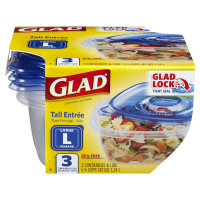 Glad Food Storage Containers - Tall Entrée Container, 42 oz 3 ea [012587780824]