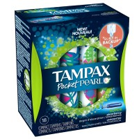 Tampax Pocket Pearl Super Absorbency Compact Plastic Tampons, Unscented 18 ea [073010710870]