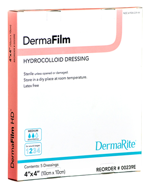 "DermaFilm Hydrocolloid Extra Thin Wound Dressing with Border [00259E] 4""X4"" 10 ea [714196259448]"