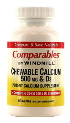 Windmill Calcium 500 mg Chewable Tablets 60 Tablets [035046001612]