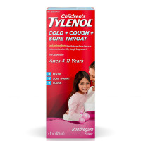 TYLENOL Children's Cold, Cough, and Sore Throat Medicine, Bubblegum 4 oz [300450169044]