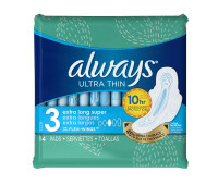 Always Size 3 Extra Long Super Absorbency with Wings Ultra Thin Pads 14 ea [037000987291]