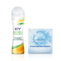 K-Y Natural Value Pack with Extra Lubricated Natural Fit Latex Condoms 12cnt & Botanical Essence Natural Feeling Personal Lubricant Gel 1.69 oz 1 ea [191897839627]