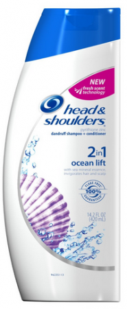 Head & Shoulders 2 in 1 Dandruff Shampoo + Conditioner, Ocean Lift 14.20 oz [037000062097]