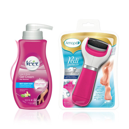 Amope Beauty Kit Amope Pedi Perfect Electronic Foot File (Extra Coarse) & Veet Gel Hair Remover Cream (13.5oz) 1 ea [191897253225]