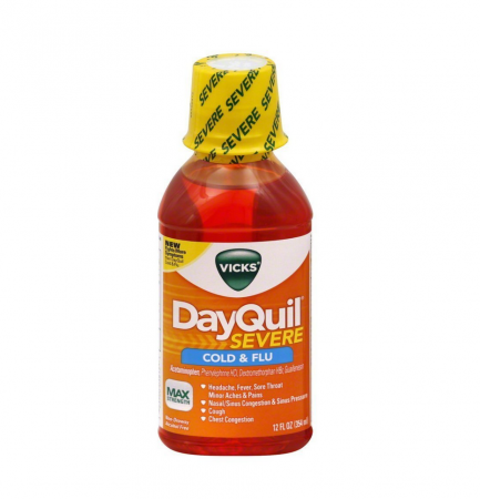 Vicks Dayquil Severe Cold & Flu Relief Liquid, 12 oz [323900038134]