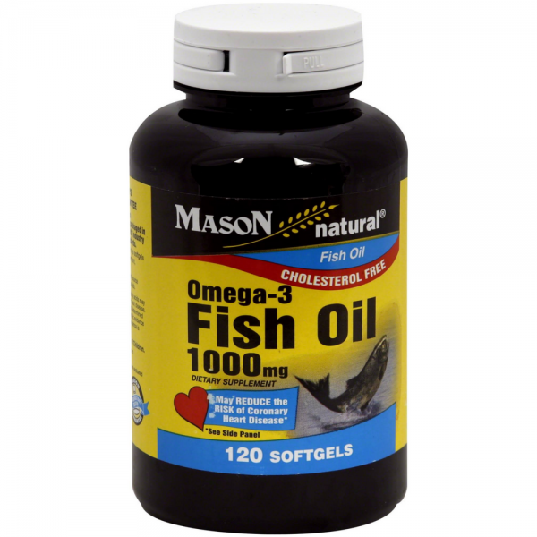 Mason natural omega 3 fish oil 1000 mg softgels 120 ea for Fish oil 1000 mg
