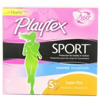 Playtex Sport Super Plus Absorbency Plastic Tampons, Unscented 36 ea [078300081364]