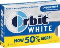 Orbit White Sugar Free Gum Peppermint 8 pack (18 ct per pack)   [022000120021]