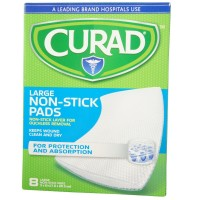 Curad Non-Stick Pads XL 8 Inches X 3 Inches 8 Each [080196320779]