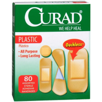 Curad Plastic Bandages Assorted Sizes, 80 ea