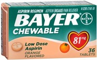 Bayer Chewable Low Dose Aspirin, 81 mg Tablets, Orange 36 ea [312843131057]