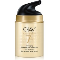 OLAY Total Effects 7-in-1 Anti-Aging Face Moisturizer with SPF 15, Fragrance-Free 1.7 oz [075609002786]