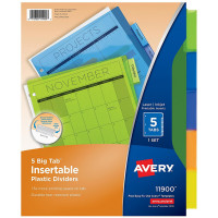 Avery Big Insertable Plastic Dividers 5 ea [072782119003]