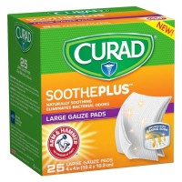 Curad Soothe Plus Large Gauze Pads with Arm and Hammer 25 ea [888277417376]