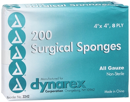 "Dynarex 200 Surgical Sponges 4"" x 4"" 8 Ply 200 Each [616784324227]"