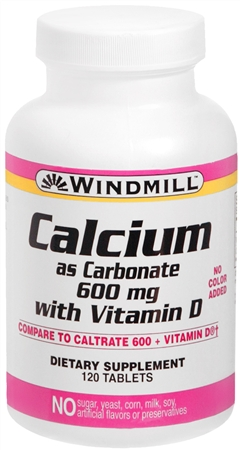 Windmill Calcium With Vitamin D 600 mg Tablets 120 Tablets [035046000578]