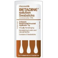 Betadine Disposable Solution Swabsticks [3 pack] 50 Packs [67618015303]