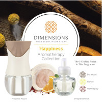 Dimensions Aromatherapy Happiness Collection Fragrance Plug-in&3 Refills for up to 4 Months of Brilliant Fragrance 1 ea [691039107848]