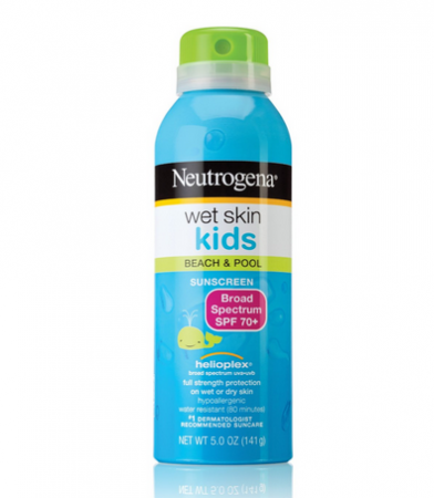Neutrogena Wet Skin Kids Beach & Pool Sunscreen Spray SPF 70+ 5 oz [086800870333]