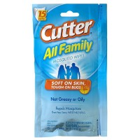 Cutter All Family Mosquito Repellent Wipes 15 ea [071121958389]