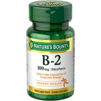 Nature's Bounty Vitamin B-2 100 mg, 100 Coated Tablets [074312006401]
