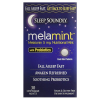 Sleep Soundly Melamint Melatonin Melt 5mg with Probiotics, Fast Acting Sleep Formula,  30 ea [035046099527]