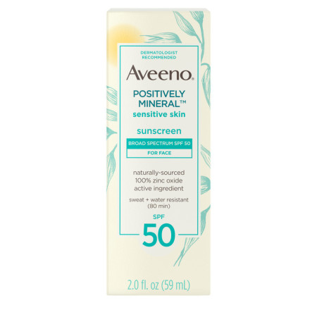Aveeno Positively Mineral Sensitive Skin Daily Sunscreen Lotion for Face, Broad Spectrum SPF 50 Facial Sunscreen, Travel-Size, 2  oz [381371026432]