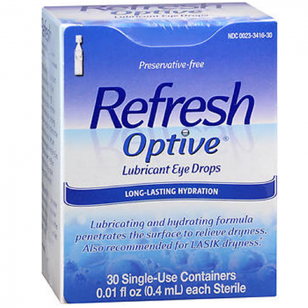 Refresh Optive Lubricant Eye Drops Long-Lasting Hydration Single Use Containers 30 Each 0.01 ounces [300233416303]