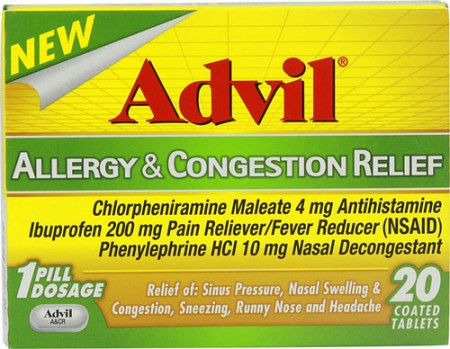 Advil Allergy & Congestion Relief Tablets 20 Tablets [305730196208]