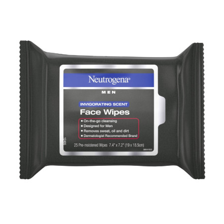 Neutrogena  Men Invigorating Scent Face Cleansing Wipes, Pre-Moistened Travel Facial Wipes for On-the-Go Cleansing 25  ea [070501101186]