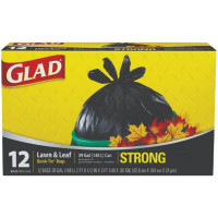 Glad Quick Tie Lawn & Leaf Bags, 39 Gallon, Black 12 ea [012587700280]
