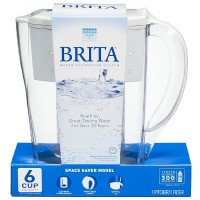 Brita Space Saver 48 oz Water Filter Pitcher, White 1 ea [060258352504]