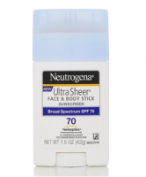 Neutrogena Ultra Sheer Sunscreen, Face & Body Stick, Broad Spectrum SPF 70, 1.5 oz [086800110101]
